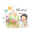 happy girl watering flowers from a watering can in vector image