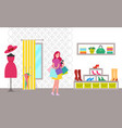 happy woman with purchases in bright clothes store vector image