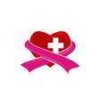 heart cross ribbon vector image vector image