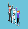 isometric business people and ai robot show vector image vector image