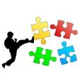 Jigsaw puzzle silhouette of karate breaks leg vector image