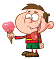 Little Boy with Strawberry Ice Cream vector image vector image