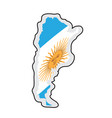 map of argentina with its flag vector image vector image