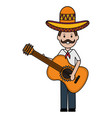 mexican man with guitar character vector image