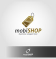 mobile shop or mobile store logo template vector image