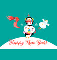new year greeting card with funny penguins vector image vector image