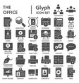 office glyph signed icon set workspace symbols vector image vector image