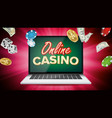 online casino banner with laptop poker vector image vector image