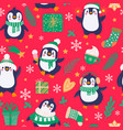 penguins seamless pattern cartoon cute penguins vector image vector image