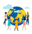 people circle dance around the earth vector image