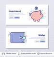 piggy bank and wallet symbols vector image vector image