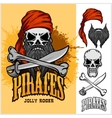 Pirate Skull in Red Headband with Cross Sword and vector image vector image