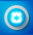 police badge icon isolated on blue background vector image vector image