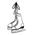 printshoes for figure skating black white vector image vector image