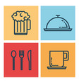 restaurant flat line icons vector image