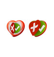 romantic approval rejection symbols with heart vector image vector image
