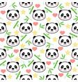 seamless cute panda pattern vector image vector image