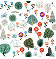 seamless pattern with forest elements and hand vector image vector image