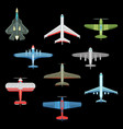 set isolated military airplanes or warplanes vector image