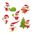 set of cartoon african santa claus isolated vector image vector image