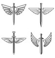 set of emblems with medieval sword and wings vector image vector image