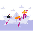 small people in paper boat vector image