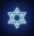 star david neon sign symbol judaism vector image