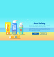 sun safety banner depicting sunscreen lotions vector image