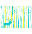 teal and yellow birch tree forest with reindeer vector image