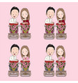 thai wedding cartoon in blessed water traditional vector image