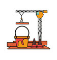 tower crane and pail vector image vector image