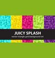 triangle pattern set juicy splash seamless vector image vector image