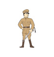 World War One British Officer Standing Cartoon vector image vector image