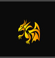 yellow dragon on a black background vector image vector image