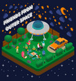 alien isometric composition vector image
