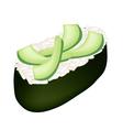 Avocado Sushi or Avocado Nigiri Isolated on White vector image