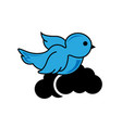 birds on clouds white background from nature vector image vector image