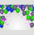 birthday card with blue and green balloons happy vector image