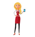 blonde business woman on the phone isolated vector image