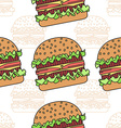 Burger seamless pattern Flat and thin line design vector image vector image