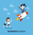 businesswoman with a rocket vector image vector image