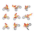 collection motorcyclist driving motorcycle vector image vector image