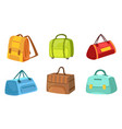 collection suitcases set leather and textile vector image vector image