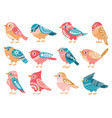 decorative birds hand drawn bird with folk vector image
