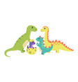dinosaurs collection and egg vector image
