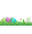 easter seamless border with eggs spring grass and vector image