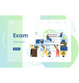 exam website landing page design template vector image vector image