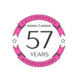 fifty seven years anniversary celebration logo vector image vector image