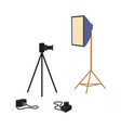 flat professional photo equipment set vector image vector image