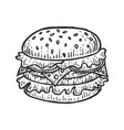 hamburger sandwich sketch engraving vector image vector image